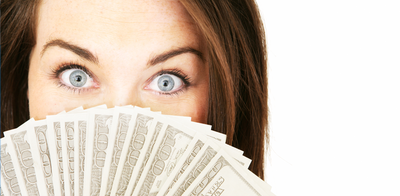 Woman holding cash 789 x 300