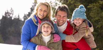 Family on skiing trip